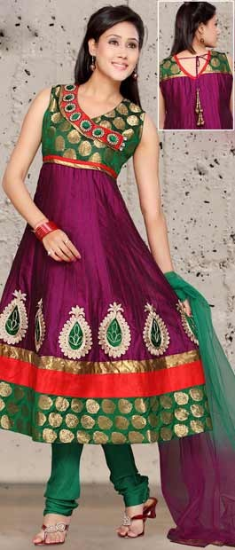 Deep Magenta and #Green Readymade Dupion #Silk #Churidar #Kameez With Dupatta | $96.19 | Shop Here: www.utsavfashion.com/store/sarees-large.aspx?icode=kwm2986