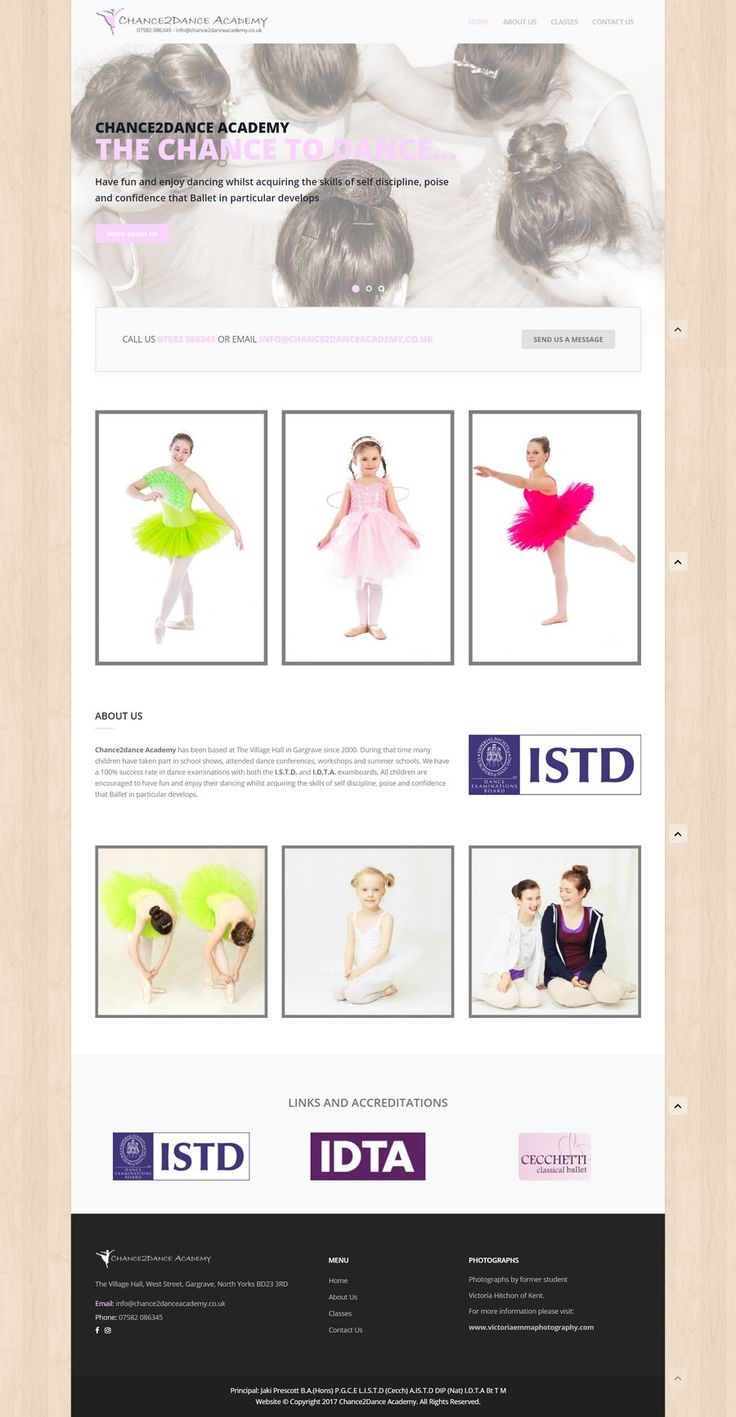 Coming to us from a recommendation by another of our clients, this website design for Chance2Dance Academy has some subtle hints of dance floors and ballet.