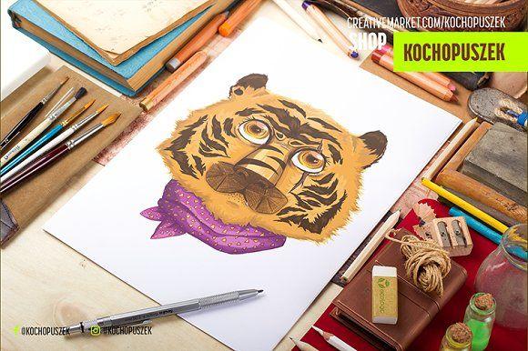 Hipster Tiger illustration by Kochopuszek on @creativemarket