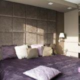 realizacja: SOPHA ściana kasetonowa za łóżkiem proj: WT STUDIO