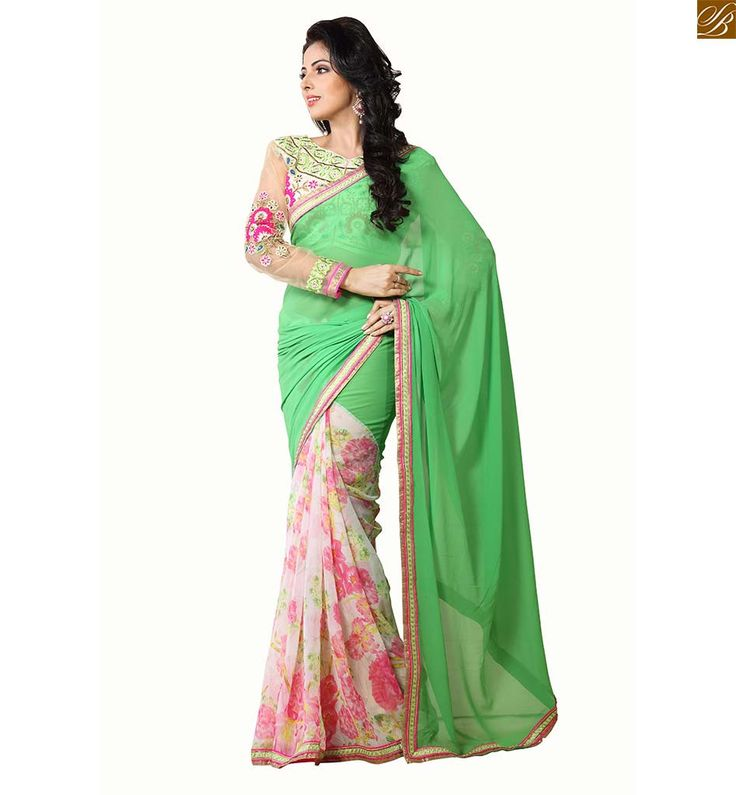 Blouse design catalogue style for beautiful indian best saree wear half and half print and plan, floral print on lower part. Copper & pink color zari border work beautiful saree with floral embroidery worked blouse designs