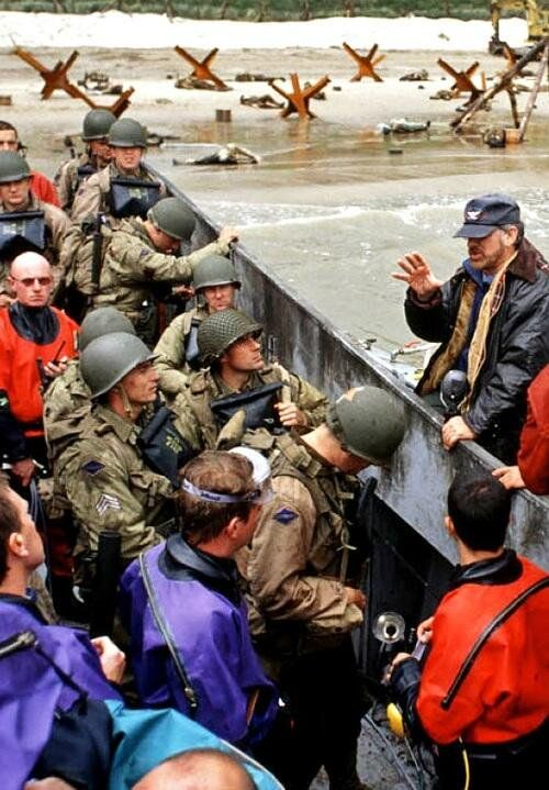 Steven Spielberg on the set of Saving Private Ryan