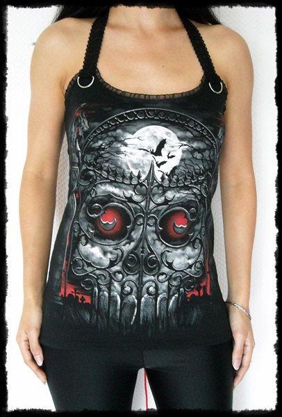 Cemetary Gates Skull Halter Top shirt Corset S-L