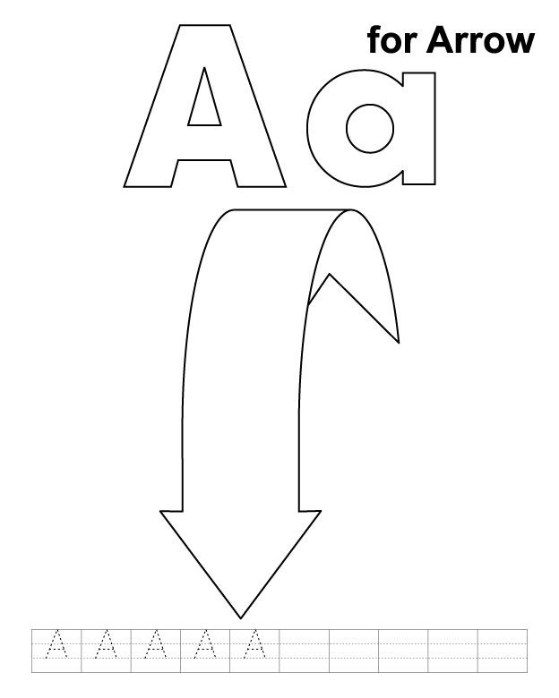 A for arrow coloring page with handwriting practice