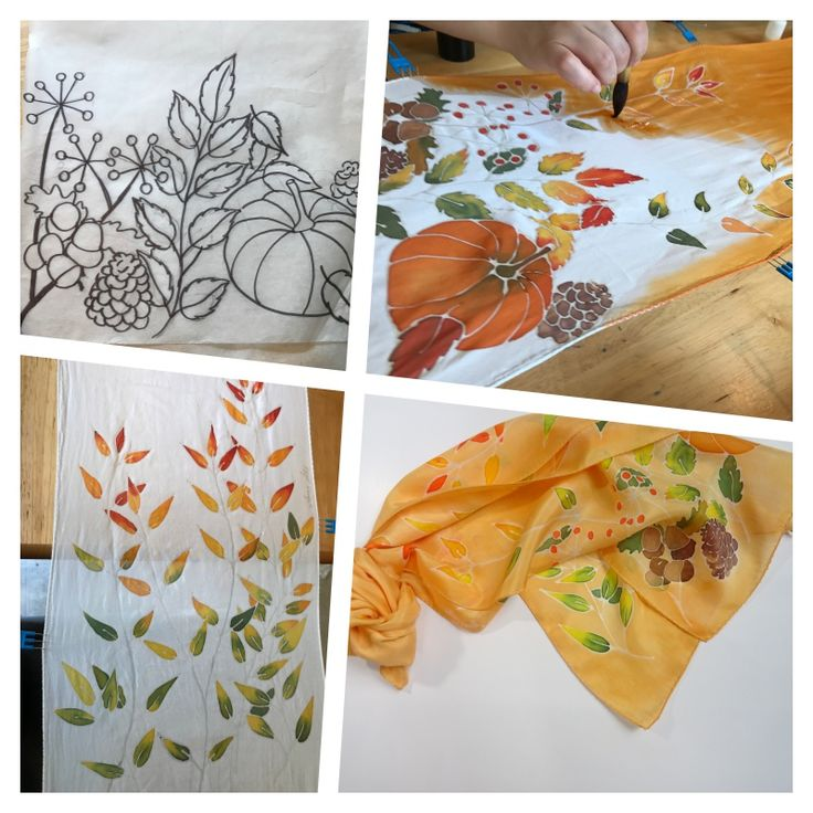 Step by step fall themed silk scarf