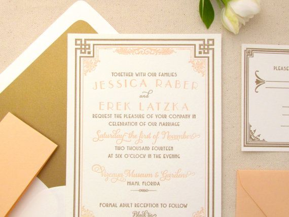The Daisy Suite - Letterpress Wedding Invitation Suite - Art Deco Peach and Gold