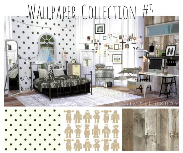 Sims 4 CC's - The Best: Wallpaper Collection by Sims 4 Luxury