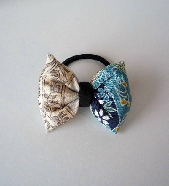 Gray and Blue Hair Accessory Kimono Hair Tie Japanese