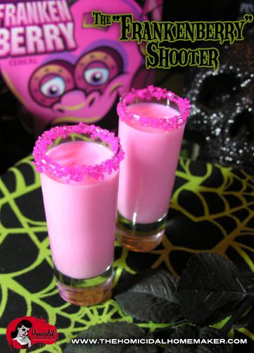The Homicidal Homemaker shows you how to make this sweet, potent, bright-pink colored concoction, inspired by one of the favored Monster Cereals...Frankenberry!
