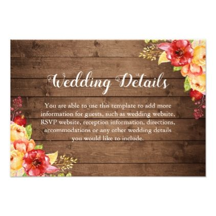 Rustic Wood Autumn Leaves Floral Wedding Details Card - autumn wedding diy marriage customize personalize couple idea individuel