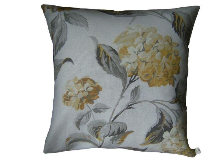 Cushion Cover Hydrangea Camomile Laura Ashley Fabric Handmade Floral Yellow