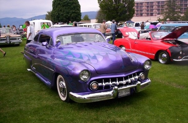 """1950 or '51 Mercury, customized with """"frenched"""" headlights and a 1954 Chev grille with extra teeth. Peach City Beach Cruise."""