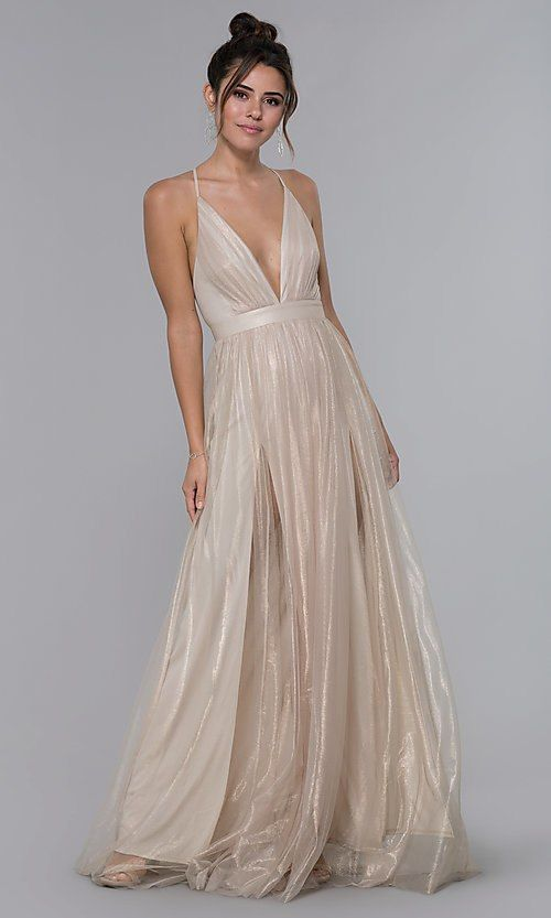 f9beda62e Deep-V-Neck Open-Back Long Gold Tulle Formal Dress in 2019 | Dresses ...