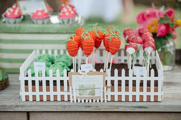 DIY cake pops were shaped like lettuce heads, carrots, and radishes, some of Peter Rabbit's favorite treats.