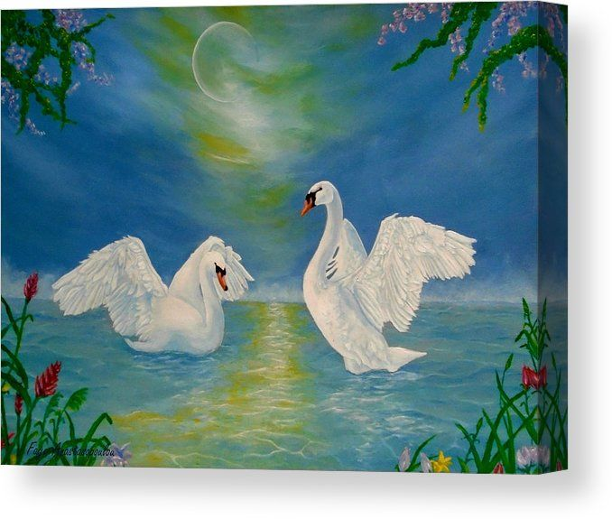 Canvas Print, swans,painting,lake,scene,wildlife,nature,wild,birds,whimsical,romantic,love,night,moonlight,vivid,colorful,turquoise,blue,water,imagination,fantasy,poetic,contemporary,realism,figurative,fine,oil,wall,art,images,home,office,decor,artwork,modern,items,ideas,for sale,fine art america,Nocturnal Sonnet