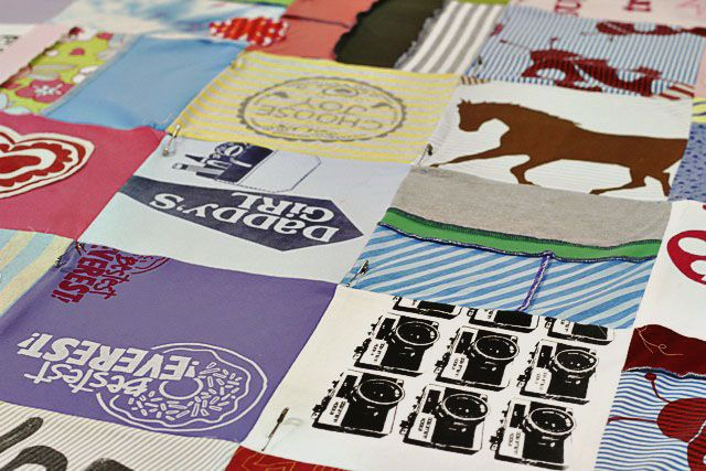 How to make a memory quilt from baby blankets, clothes and t-shirts. DIY tutorial