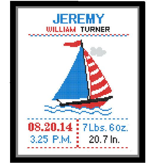 1 Cross Stitch custom Pattern Baby Boy Personalised Birth Announcement Birth Record Yacht Red Blue Green Yellow Transport Nursery Gift on Etsy, $8.93 CAD