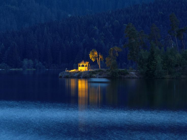 Blue Hour at the Lake and in the City Schluchsee, Germany.