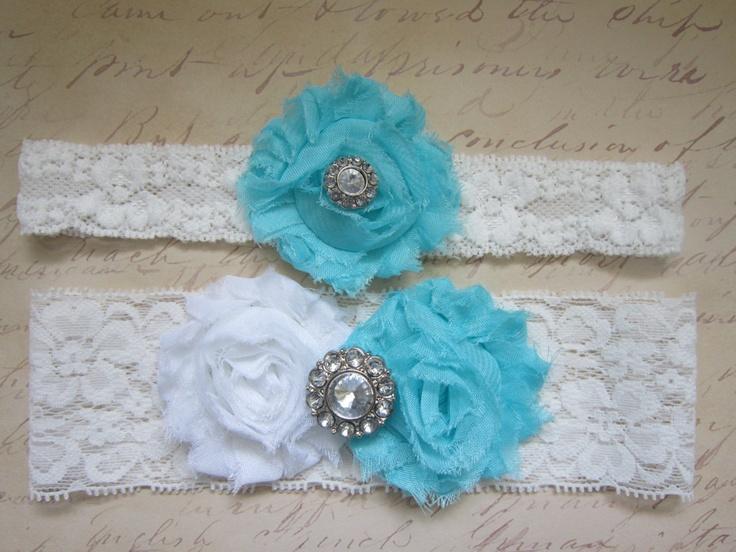 Aqua Blue White Wedding Garter Set