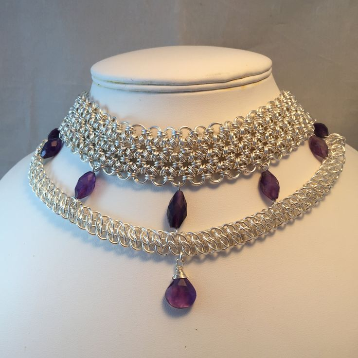 Bridal Chain Maille Necklace with amethyst: bridal jewellery; wedding jewellery; bridal necklace; off beat bride; alternative bridal by ToriasTrinketsBox on Etsy