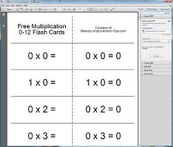 Printable Math Flash Cards - horizontal format example