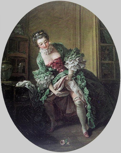 """La Toilette intime"" or ""Une Femme qui pisse"", by François Boucher, 1760s. She is using a Bourdaloue - a portable urinal for ladies - a necessary item when wearing panniers and layers of petticoats. Here is more on the subject from the fab twonerdyhistorygirls site: http://twonerdyhistorygirls.blogspot.co.nz/2010/06/  always wondered how they managed the necessary with those volumanous skirts"