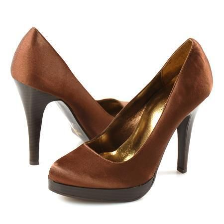 Коричневые атласные туфли