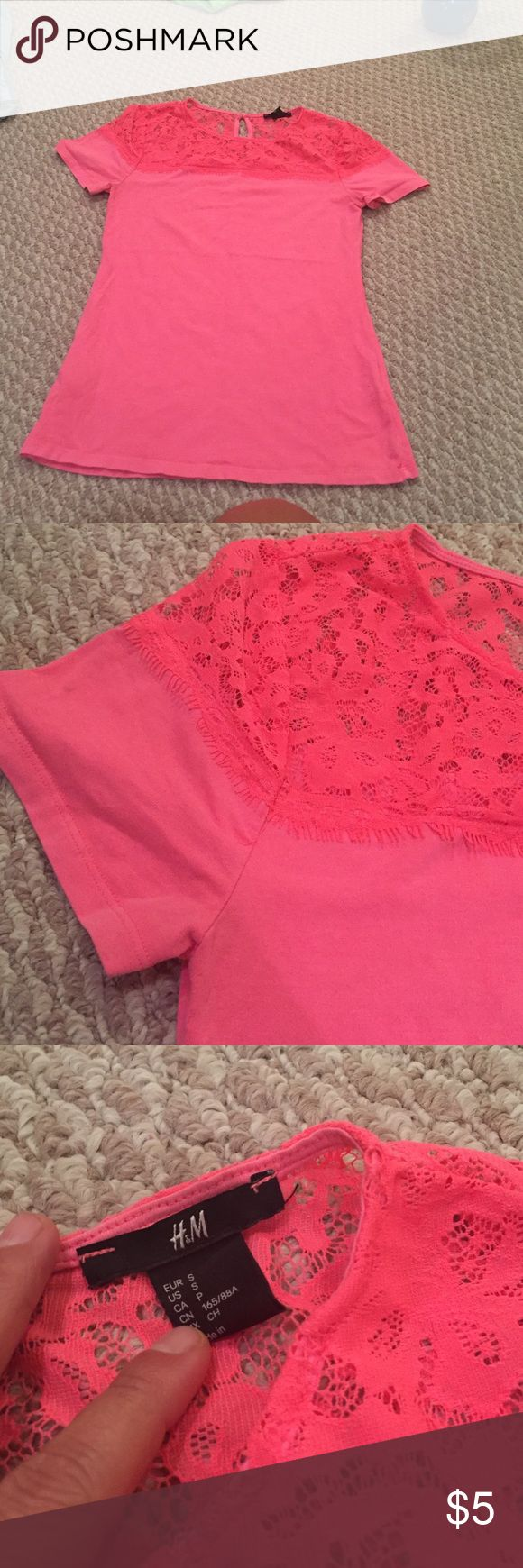 Pink lace top One small mark on sleeve H&M Tops Tees - Short Sleeve