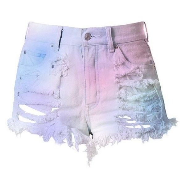 Pastel High Waisted Denim Shorts Destroyed Cotton Candy ❤ liked on Polyvore featuring shorts, distressed shorts, high rise jean shorts, jean shorts, high-waisted shorts and ripped jean shorts