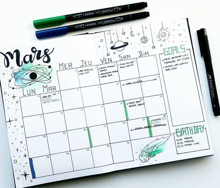 Bullet Journal Monthly Log Space Themed Bulletjournal Bujo