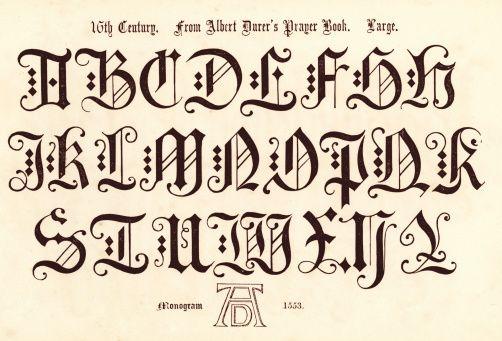 Estilo do século 16 Alfabeto - ilustração de arte vetorial