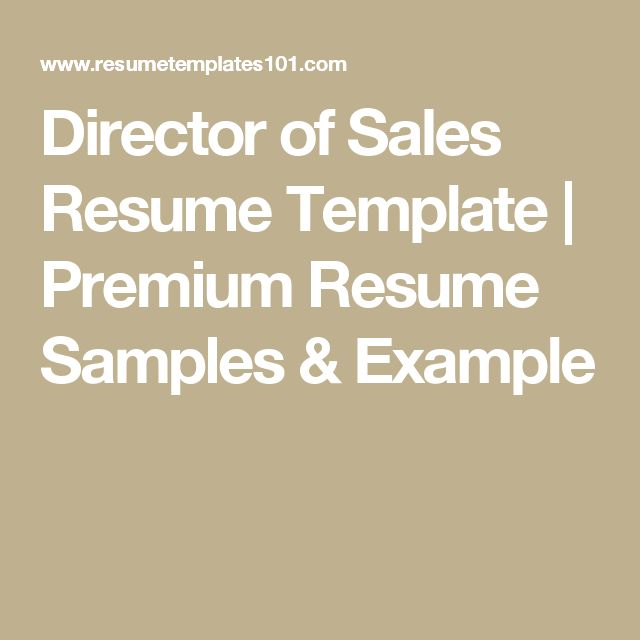 Director of Sales Resume Template | Premium Resume Samples & Example