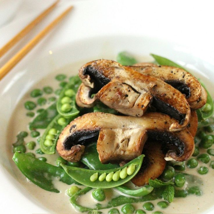 Mushroom & Snow Pea Green Curry. Click Visit for the recipe on our blog.