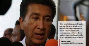 """El ex candidato del Partido Revolucionario Institucional (PRI) a la gubernatura de Veracruz, Héctor Yunes Landa, solicitó al aún Gobernador del estado, Javier Duarte de Ochoa, que pida licencia de su cargo. A través de su cuente de Twitter, Yunes Landa solicitó a Duarte que por """"dignidad pida licencia definitiva al cargo de Gobernador […]"""