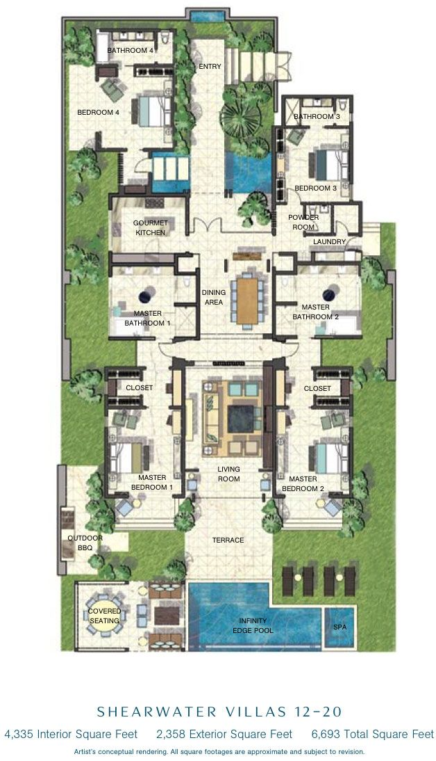 caribbean villa floor plans