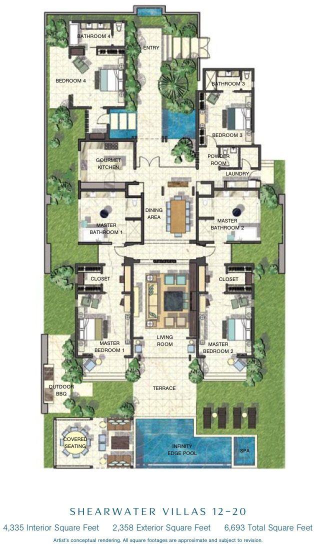 caribbean villa floor plans