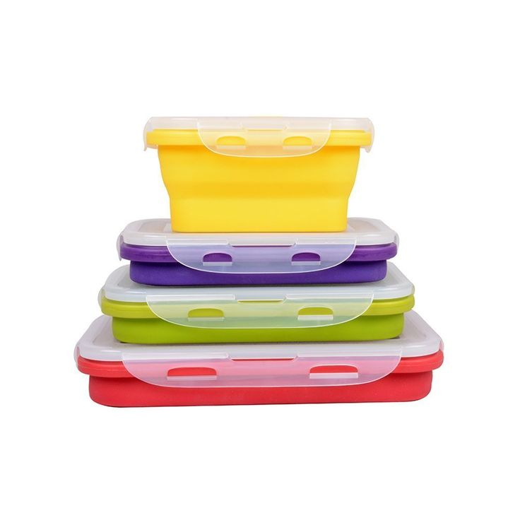 4 Pack (350ML , 540ML , 800ML , 1200ML) Elegant, Fashionable & Stackable Food Storage Containers, Silicone Collapsible Lunch Bento Box, Freezer to Oven Safe, Set of 4: Amazon.co.uk: Kitchen & Home