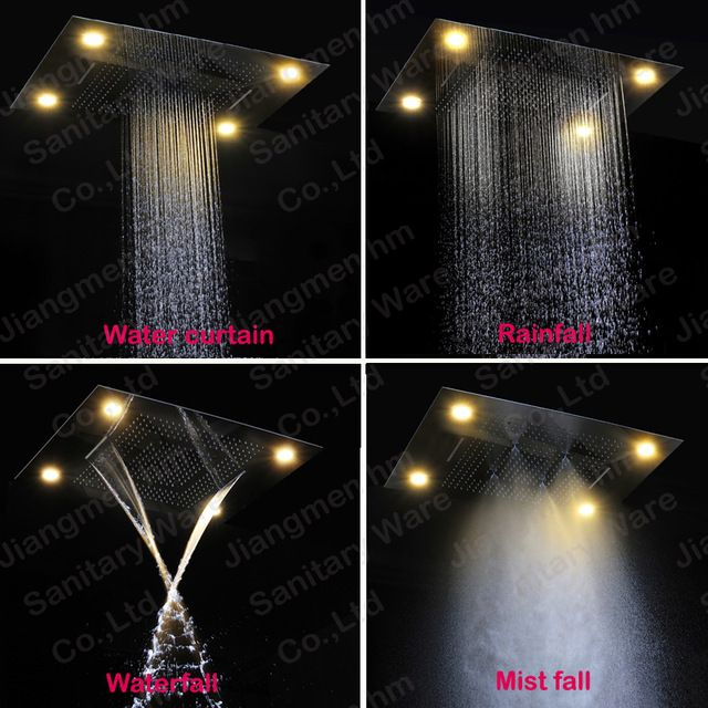 Embeded Ceiling Rainfall Led Big Shower Head Remote Control Color Change  With Rainfall,waterfall,