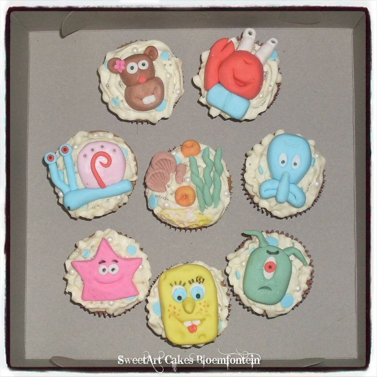 SPONGEBOB CUPCAKES For more info or orders email sweetartbfn@gmail.com or call 0712127786 (Deliveries of decor available nationwide)