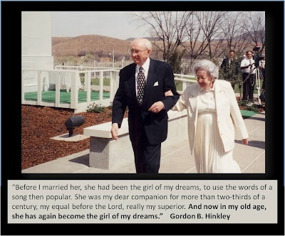 "President Hinckley speaking about his wife, the ""girl of his dreams""."