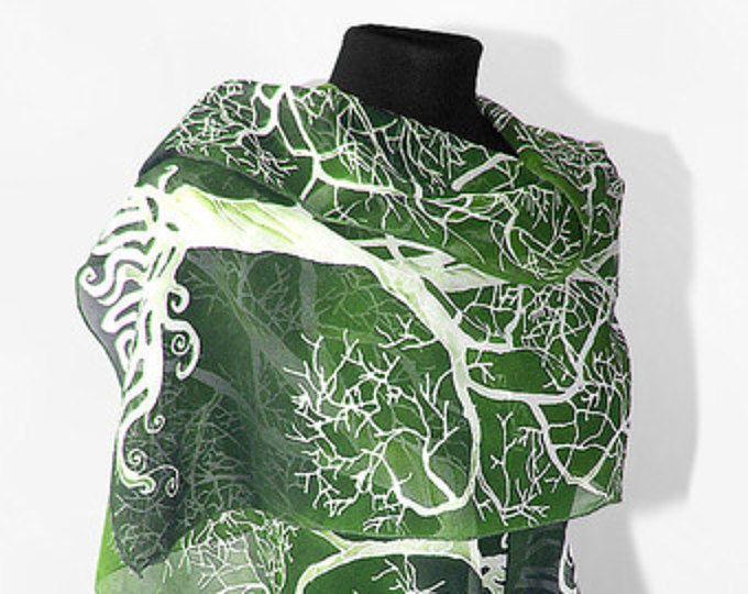 Pañuelos seda blanco árbol de bufanda verde a mano bufanda de bufanda fantasía - blanco verde - árbol - pañuelos de seda pintados a mano