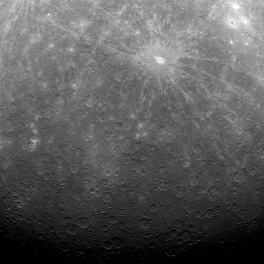 First image ever obtained from Mercury orbit - NASA MESSENGER