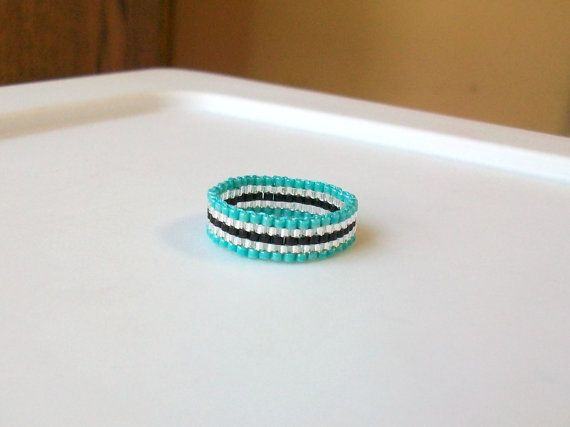 Turquoise Black and Silver Beaded Band Ring  Size 9 by mswolflady, $12.00
