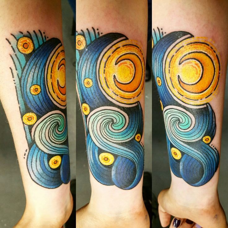 "A take on van Gogh's ""The Starry Night"". Done by Laura Kennedy at Timeless Tattoo. Glasgow, Scotland."