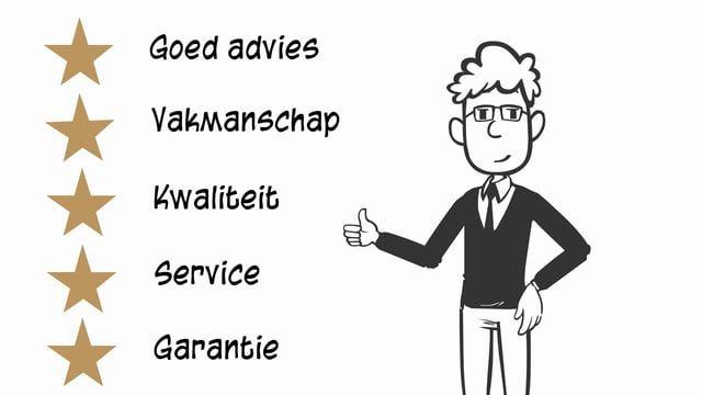 *goed advies *vakmanschap *kwaliteit *service * garantie Wat je in huis haalt moet goed zijn.   Daarom is ouderwetse service en vakkennis zo belangrijk. Al onze specialisten hebben het bieden van service en goed advies hoog in het vaandel staan.   Als u zeker wilt weten dat u goed geholpen wordt, let dan op het 5 sterren specialistenlogo.