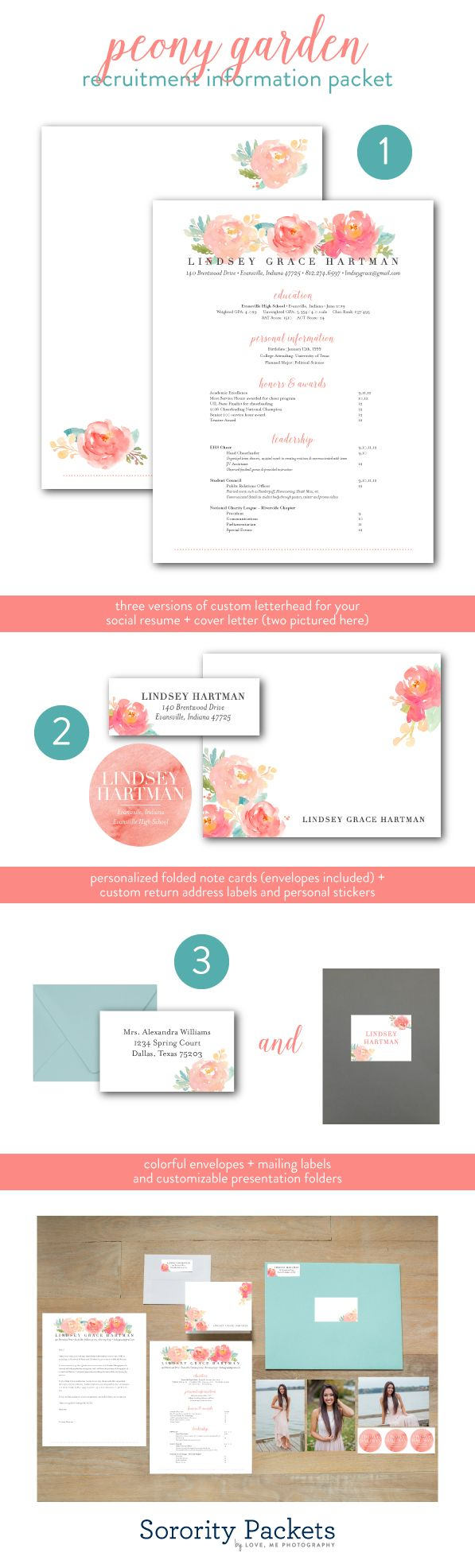 Sorority Recruitment Packet, Peony Garden Design // All the heart eyes for this customizable sorority recruitment packet! Our Peony Garden recruitment information packet features a watercolor floral design, and includes 3 versions of custom letterhead, note cards, personal stickers, address labels, and more! | sorority packets | www.sororitypackets.com