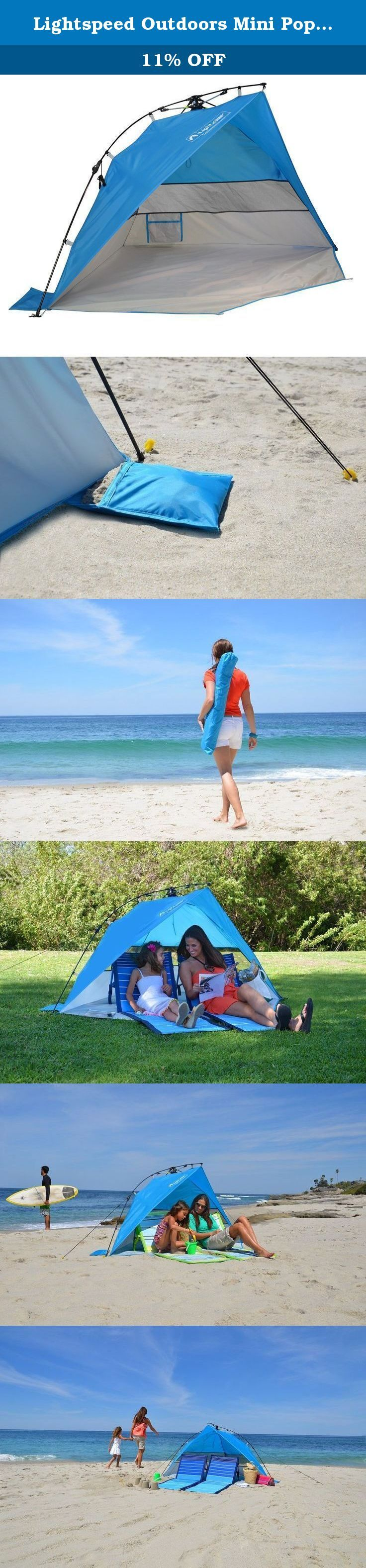 Lightspeed Outdoors Mini Pop Up Beach Tent Sun Shade, Blue. Lightspeed Outdoors Mini Pop Up Beach Tent and Sun Shade sets up in seconds to provide the perfect portable shelter. The Mini provides protection from sun, wind, and light rain during picnics, backyard events, sporting events, or at the beach. UPF 50+ sun protection, ultraportable and lightweight, this pop up beach tent is designed to provide instant shade and weather protection wherever you may need it. An extended front porch...