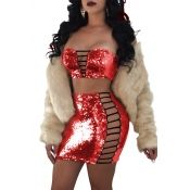 Sexy Strapless Hollow-out Red Polyester Two-piece Skirt Set(Without Coat)