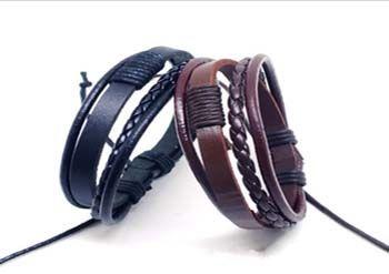 Fashion Leather Braided Wrap Titanium Steel Bracelet Jewelry Punk