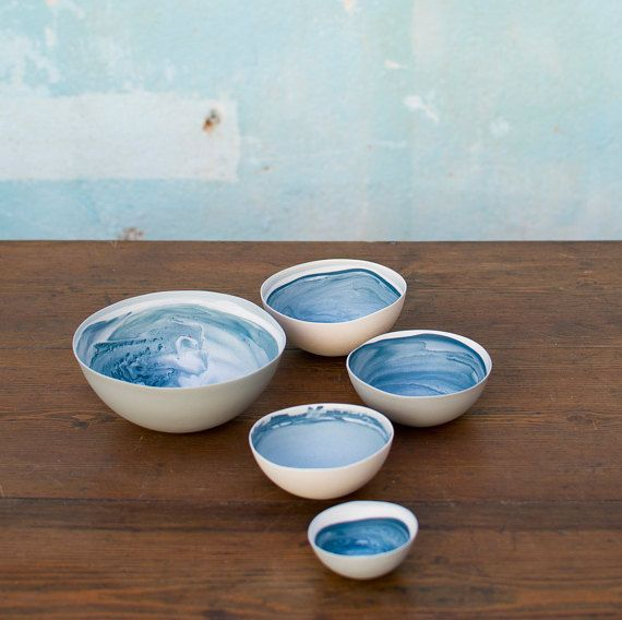 Set of 5 porcelain bowls / Nested bowls / Home by BLOWAWISH